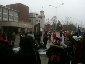 The Idle No More protest in Kitchener Friday afternoon. (Photo by HG Watson).