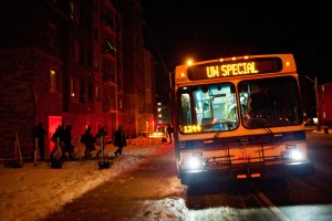Students evacuate 21 Columbia close to 11 p.m. on Feb. 6. Unconfirmed initial reports suggested a fire on the fourth floor caused water and possible electrical danger. (Photo by Nick Lachance).