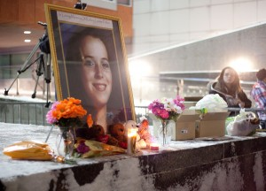 On Monday night, 150 people gathered at Kitchener City Hall to remember Kelsey Louise Felker. (Photo by Cristina Rucchetta).