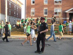 A police officer on Ezra Ave. during St. Patrick's Day 2012. (File photo by Linda Givetash).