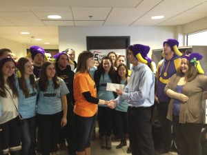 5 days for the Homeless reps receive a $500-cheque from the Water Buffalos. (Photo by Justin Smirlies).