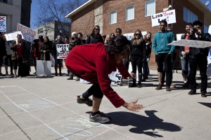 A student narrowly misses a 'landmine' on international landmine awareness day, April 4, 2013 while participating in a Lend Your Leg awareness campaign.