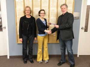 Award winner Natalia Pack with Writing Centre manager Emmy Misser and WLU English prof James Weldon. (Photo courtesy of Dan Roberts).
