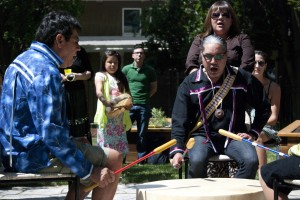 A traditional drum circle opened the ceremonies for the new Aboriginal student centre garden. (Photo by Jody Waardenburg)
