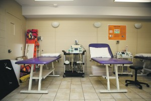 Laurier's athletic therapy room in the athletic complex features rehab and therapeutic equipment. (Photo by Ryan Hueglin)
