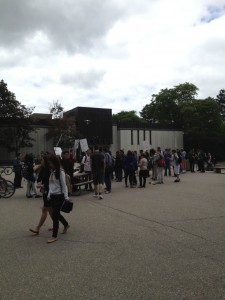 Students gathered near the Diane Porter library Tuesday afternoon (Photo by Justin Smirlies).