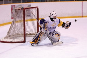 Goaltender Erika Thunder has left the Laurier Golden Hawks to return home. (File photo by Nick Lachance)