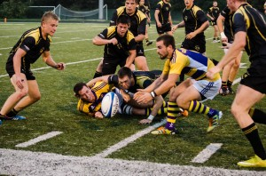 Laurier gave up a ten-point lead to Waterloo, settling for a 10-10 tie before the game was called. (Photo by Jody Waardenburg)