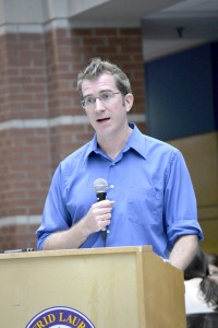 McMurty, a professor at the University of Ottawa, gave a talk at the Interdisciplinary Conference on Monday. (Rebecca Allison)