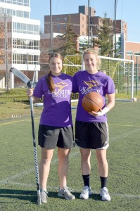 Jacky Normandeau (left) plays soccer and hockey, while Katrina Ward (right) plays soccer and basketball. (Photo by Andriana Vinnitchok)
