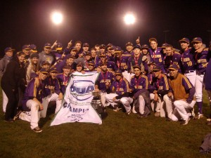 Men's baseball captured their first-ever OUA championship against the Brock Badgers Sunday night in Guelph. (Photo courtesy of the OUA)