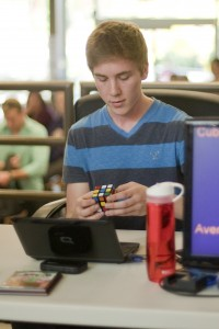 Laurier student Eric Limeback broke the world record for most Rubik's Cubes solved in 24-hours. (Heather Davidson)
