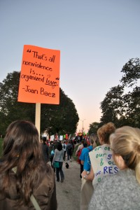 Organizers and public officials shared statistics and experiences of sexual violence at a rally before marching from Waterloo Park to the Victoria Park Pavilion in Kitchener. (Photo by Laura Buck)