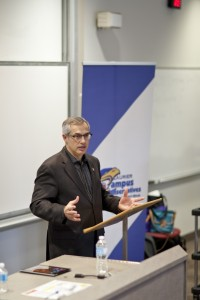Conservative MP Tony Clement gave a talk on 'balancing the books' to Campus Conservatives. (Photo by Ryan Hueglin)