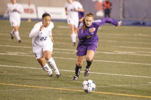 Laurier's women's soccer team dropped a 2-1 decision to the Toronto Varsity Blues in the consolation semifinal of nationals. (Photo by Heather Davidson)
