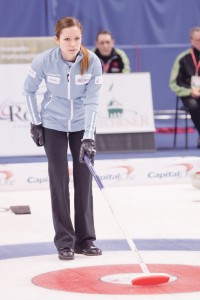 Laura Crocker calling a shot during her opening game against Team Horgan Wednesday. (Photo by Heather Davidson)