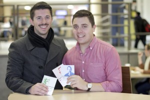 A Laurier student and two alumni developed Wise Words, a business selling inspirational postcards. (Photo by Heather Davidson)
