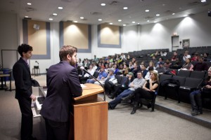 CRO Dani Saad explains the rules and restrictions of the Students' Union elections on Tuesday (Photo by Ryan Hueglin)