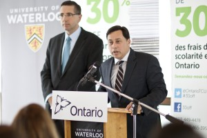 MPPs Brad Duguid (R) and John Milloy (L) make an announcement Monday morning at UW. (Photo by Ryan Hueglin)
