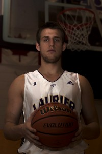 Max Allin scores his 1,500 career point on Nov. 27 against Waterloo. (Photo by Heather Davidson)