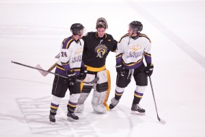 Laurier's men's hockey team beat the Warriors 3-2 in the shootout Tuesday. (Photo by Will Huang)