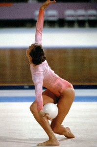Canada's Adrienne Dunnett competes in a rythmic gymnastics event at the 1984 Olympic games in Los Angeles. (CP PHOTO/ COA/ Crombie McNeil)