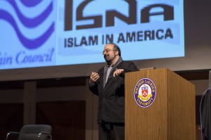 Omid Safi spoke at Laurier on the marginalization of Muslims (Photo by: Will Huang)