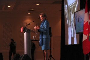 Kathleen Wynne was in Kitchener-Waterloo Tuesday