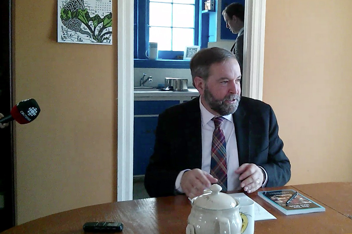 NDP Leader Thomas Mulcair visited a Kitchener home Tuesday morning. (Photo by Lindsay Purchase)