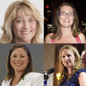 Clockwise from top left: Liberal candidate Jamie Burton, Green party candidate Stacey Danckert, NDP incumbent Catherine Fife and PC candidate Tracey Weiler