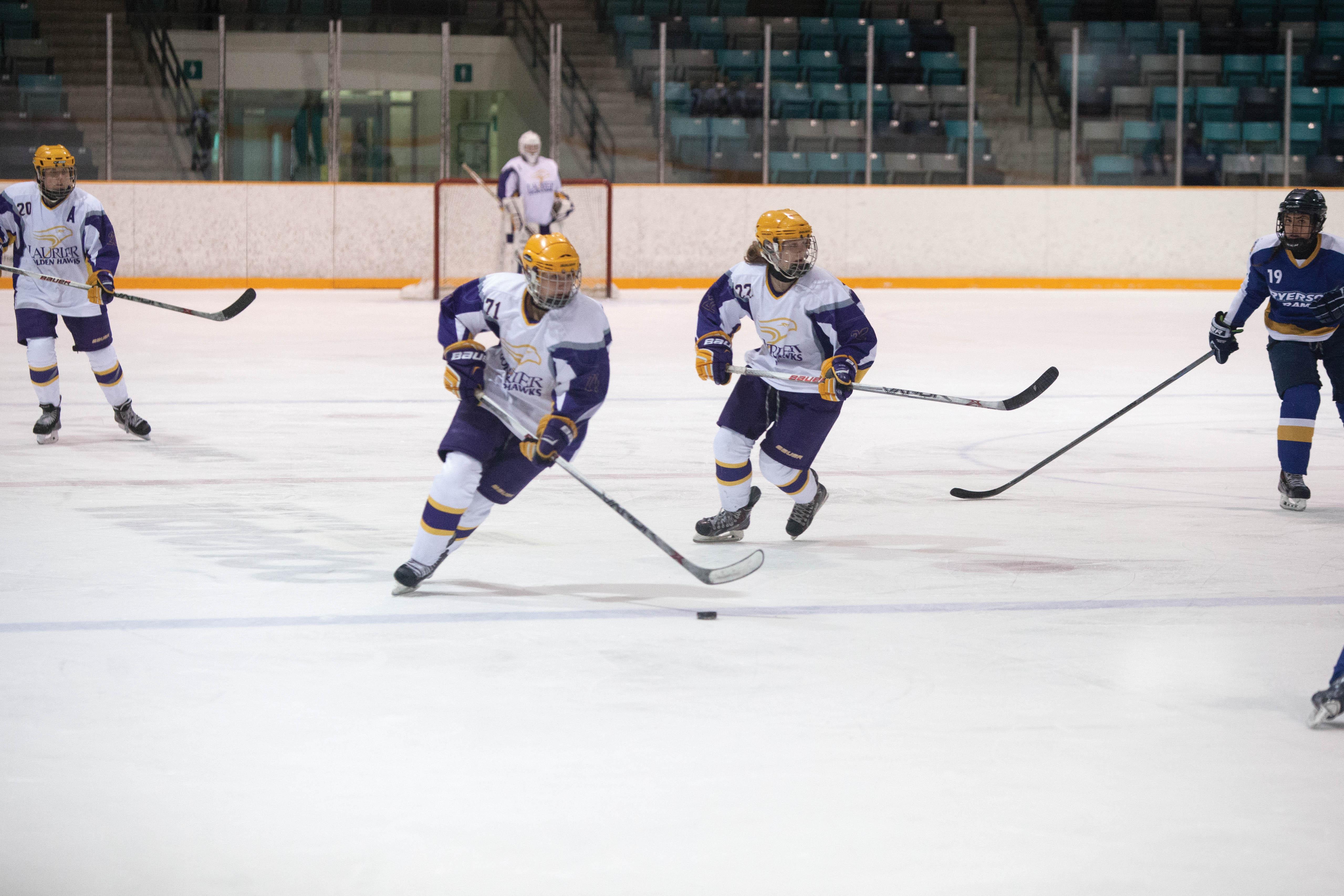 Two weeks after a torn meniscus, Lauren Webber returned to Golden Hawk hockey